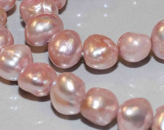 "Baroque Pearl Nugget Pearl Freshwater Pearl Vintage Pinkish Lavender color ---16"" full strand Large 10-12mm----Excellent Bargin #BA4004"