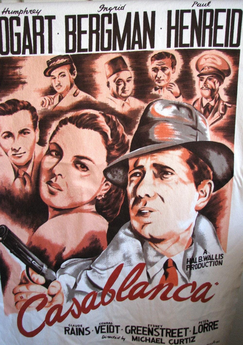 Casablanca Humphrey Bogart Ingrid Bergman Fabric Panel