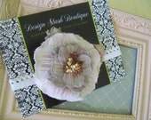 CLEARANCE - Lovely Antique Lavendar Shabby Fabric Flower with Leaves on a White Scalloped Lace Headband