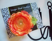 CLEARANCE - Wedding Orange Cabbage Rose Hair Clip with White Pearl Embellishment and Tulle - Design Stash Collection