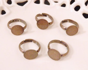 BULK LOT - Fifty (50) Nickel Free Child Size Antiqued Copper Adjustable Rings with 10mm Flat Glue On Pad - Save 10 percent