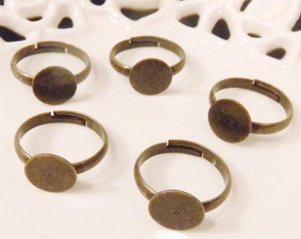 BULK LOT - Fifty (50) Nickel Free Adult Size Antiqued Brass Adjustable Rings with 10mm Flat Glue On Pad - Save 10 percent