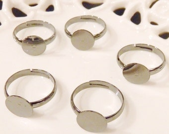 BULK LOT - Fifty (50) Nickel Free Adult Size Gunmetal Adjustable Rings with 10mm Flat Glue On Pad - Save 10 percent