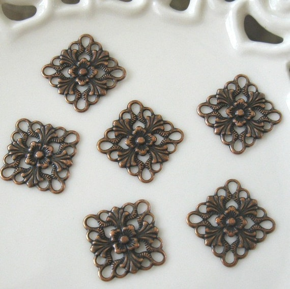 BULK LOT - Four Dozen (48) Antiqued Copper 16mm Fancy Square Drops Charms Findings - Save over 10 percent