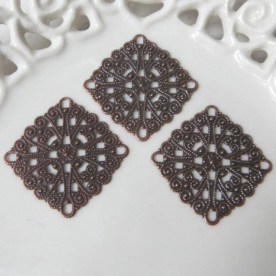 Ten (10) Antiqued Copper 28mm Large Fancy Square Filigree Charms Components Findings