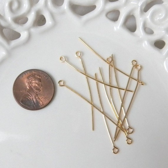 One Hundred (100) Gold Plated 21 Gauge 2 Inch Long Eyepins