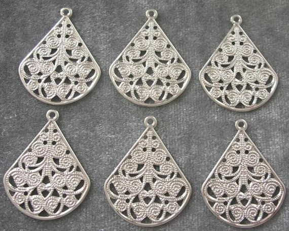 BULK LOT - Fifty (50) Silver Plated 23x29mm Filigree Teardrop Drops Charms Findings - Save over 10 percent
