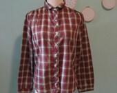 Vintage 80s GAP Plaid Shirt Blouse Peter Pan Collar M L