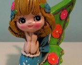 Vintage 60's Mod Holiday Fair Day Glo Butterfly Mermaid Bank
