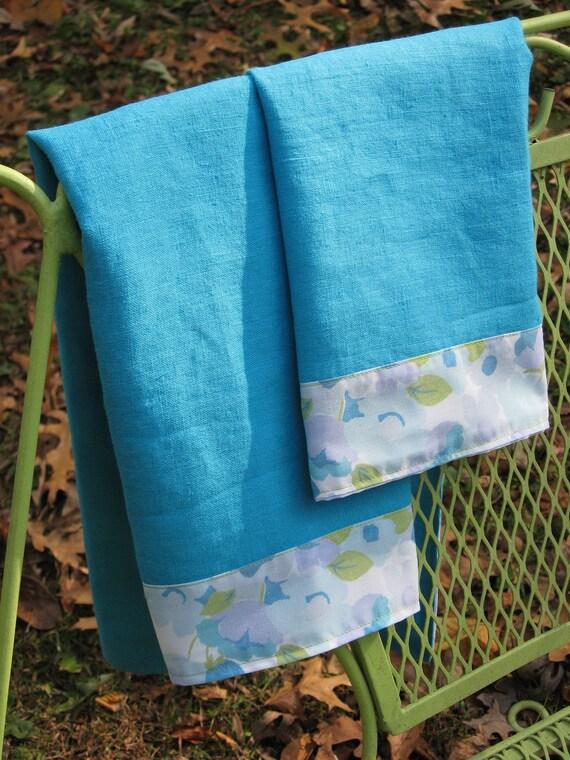 Linen Tea Towel Set of 2 Reclaimed Aqua Fabrics
