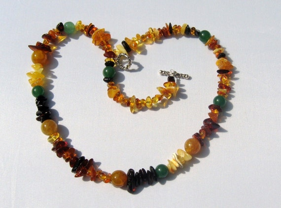 Baltic Amber Necklace with Green Aventurine and Fire Agate Beads