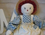 TWO FOR ONE Vintage Raggedy Ann Folk art doll  Raggedy Doll Price Sale