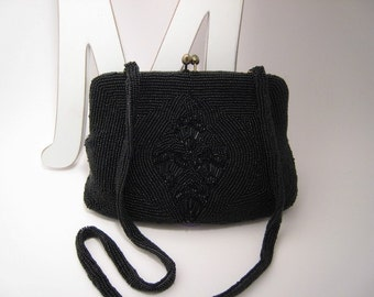 Vintage Clutch Black Noir Beaded  La Regale Ltd Handbag Excellent Condtion