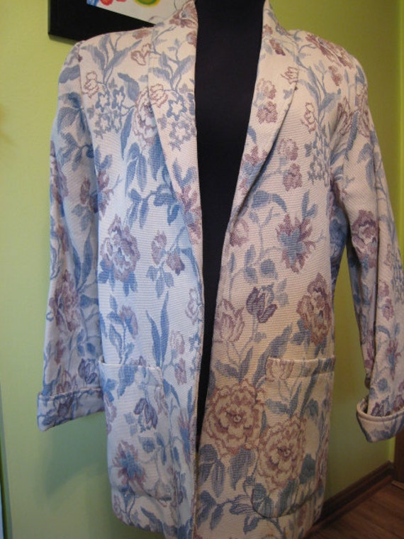 Womens Floral Chambray Print Jacket BrocadeTapestry Coat  Michael Lewis MADE IN  USA