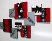 LARGE 2pc Xander Red Black Wooden Abstract Modern Versatile Squares Wall Sculpture Hangings - DivaArt69