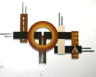 Contemporary Geometrical Wood Wall Sculpture with Metal 4'x37 Abstract Art by A.Tarpley