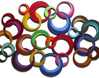 HUGE 4PC Vibrant Contemporary Modern Colorful Circle Cluster Wood Wall Sculpture hangings