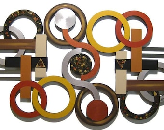 Question of View Geometric & Circle Wood and Metal Contemporary Modern Wall Sculpture 44x28