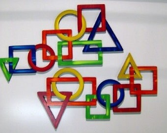 2pc Contemporary Geometric Primary Color Wood Wall Sculpture -colorful versatile wall hangings