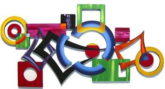 Sale Infusion Abstract Wall Sculpture Contemporary Modern Colorful Wall Decor 46x24