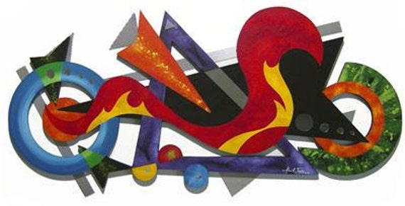 Vibrant Abstract Wall Sculpture, Colorful, Cool, Unique, Funky Wall Decor, 45x21 Wood, metal, Mirror