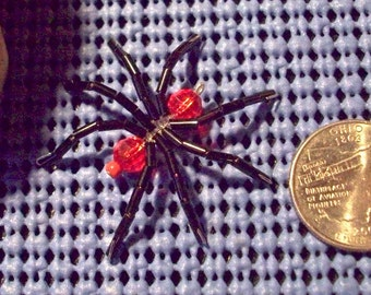 Small Beaded Spider Brooch or Pendant