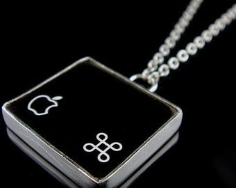 SALE - Computer Key Jewelry - rePURPOSED Apple Mac Command Key v1 Pendant with Sterling Chain