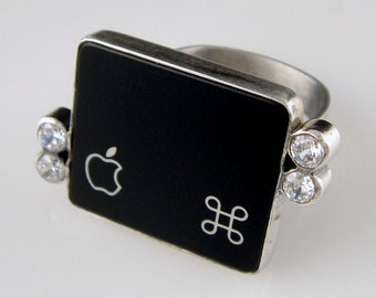 SALE - Computer BLING Key Jewelry - rePURPOSED Apple MacBook Command Key Sterling Ring with CZ - Size 7