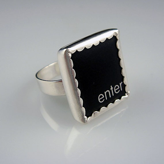 FINAL SALE - Computer Key Jewelry - Enter Key - Sterling Ring Size 6.5 - 60 percent off