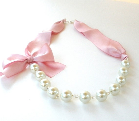 Pink Pearl Silk Ribbon Necklace - pink bridesmaid necklace - wedding jewelry - bridesmaid jewelry