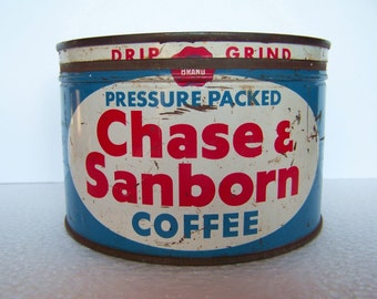 VINTAGE CHASE & SANBORN Dome Top Tin