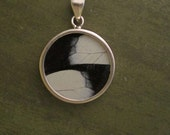 Real Butterfly Wing Pendant - Medium Round Black and White