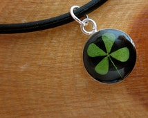 REAL 4 Leaf Clover Pendant - Lucky little necklace - Black Round on 18 inch Black cord