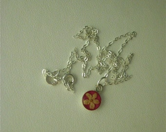 Elder Flower - Real flower pendant with pink enamel background on 16 inch sterling chain