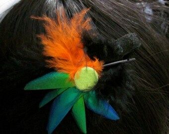 Bugs and Birds - hair piece made with feathers and beetle wings