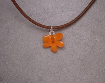 Orange MINIATURE Vanda Orchid - Real Flower Necklace - sweet summer garden grower - eco friendly, simple, small, child, love, tiny, adorable