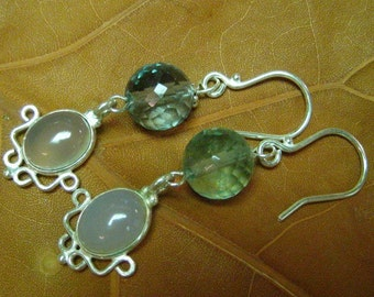 Sea and Sky in Silver - Blue Chalcedony and Rainbow Flourite with sterling silver are stunning