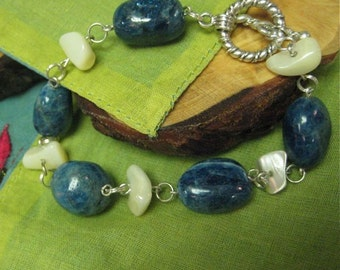 SALE! Apatite and Mother of Pearl Bracelet  with sterling accents - ooak stone, shell, gemstone, rock, mineral, blue, navy, denim, seashell
