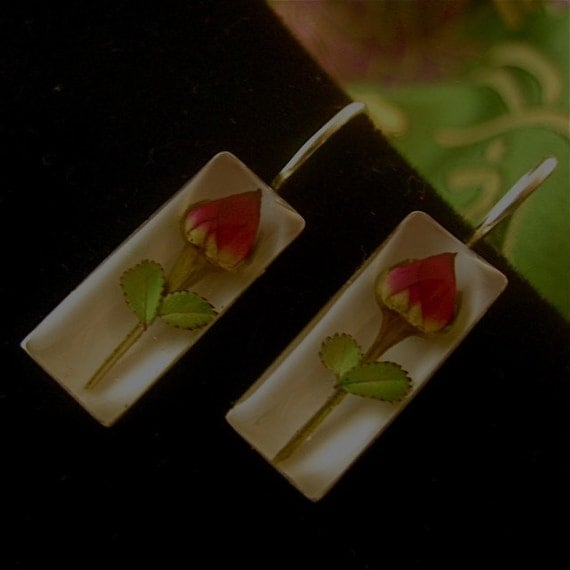 Earrings - Real Roses preserved in resin - Set in Sterling Silver