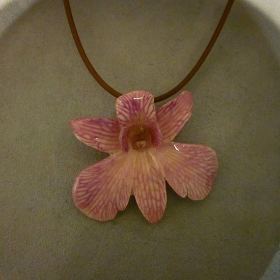 Real Orchid Necklace - Purple Dendrobium on 16 inch brown cord