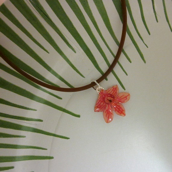 Real Vanda Orchid - Light Pink Flower on comfy brown cord