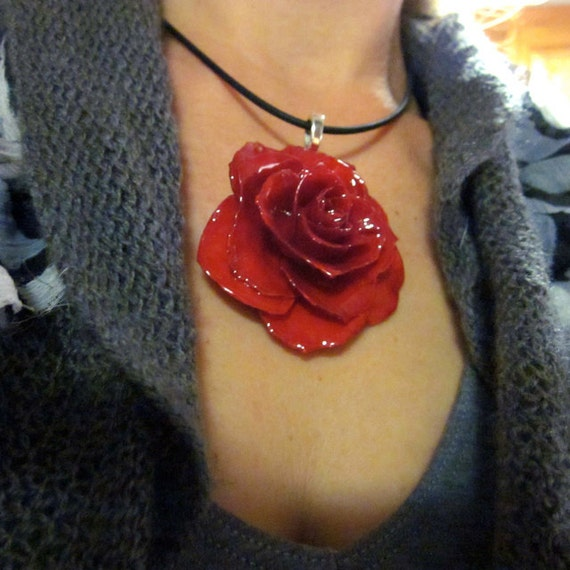 Large Red Rose - Real Flower Necklace on 18 inch black cord