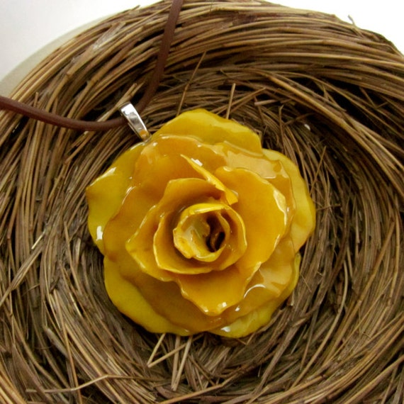 Large Yellow Rose Necklace - Real Flower Jewelry