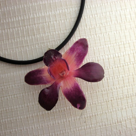"""Real Miniature Orchid Pendant - Purple and Pink Dendrobium on 16"""" Black cord"""
