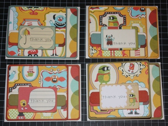 SALE Handmade Thank You Card Set (4)