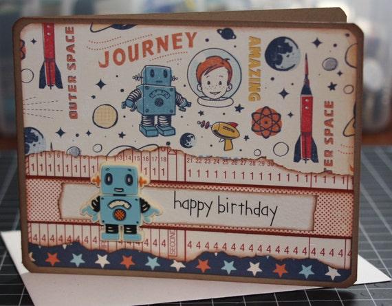 Handmade Happy Birthday Card Space Rockets Stars Robots Boy Kid Planet Moon