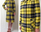 HALF OFF SALE // 1970s canary and navy autumn plaid wool coat, s-m