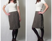 s a l e //  green and brown TWEED WOOL pencil skirt, s