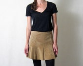 s a l e //  CAMEL SUEDE pleated mini skirt, xs - s
