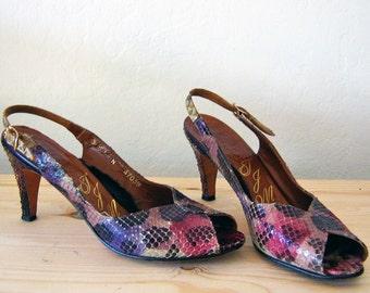 RAINBOW SNAKESKIN peep toe heels, 8